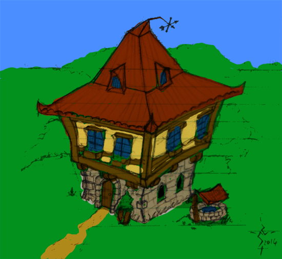 An odd little cottage stands on the far hill.